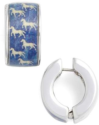 ERWIN PEARL Blue Silvertone Blue Horse Earrings