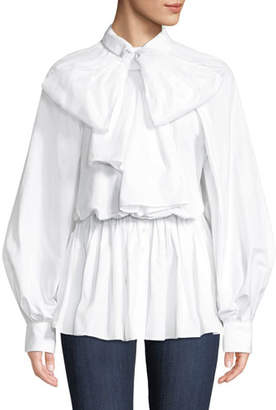 Anais Jourden Poplin Tie-Neck Button-Front Blouse