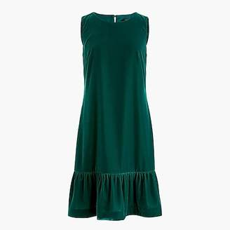 J.Crew Tall Velvet ruffle-hem dress