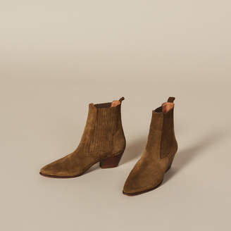 Sandro Leather Ankle Boots With Elastic