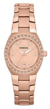 Fossil Womens Rose Gold Tone Stainless Steel Bracelet