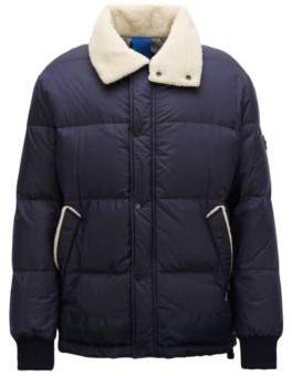 BOSS Hugo Water-repellent down-filled jacket teddy-fabric collar 38R Open Blue