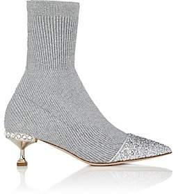 Miu Miu Women's Rib-Knit Sock-Style Ankle Boots-Silver