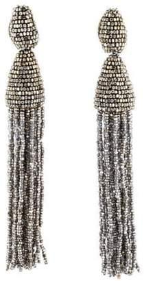 Oscar de la Renta Bead Tassel Clip-On Earrings Silver Oscar de la Renta Bead Tassel Clip-On Earrings