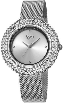 Burgi Womens Silver Tone Strap Watch-B-220ss