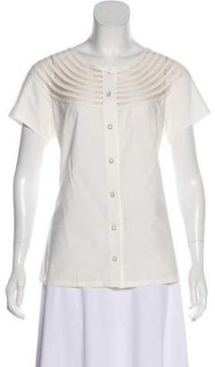 Lela Rose Short Sleeve Button-Up Top