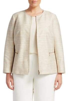 Lafayette 148 New York, Plus Size Kerrington Silk Jacket