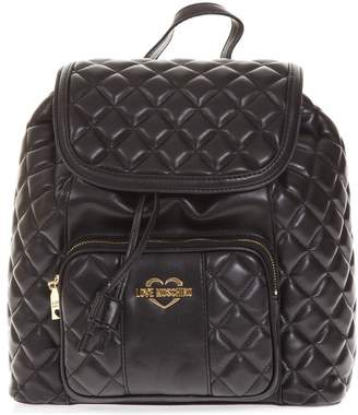 Love Moschino Black Quilted Backpack In Faux Leather