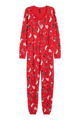 H&M Patterned Jersey Jumpsuit - Red/Christmas - Women