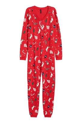 H&M Patterned Jersey Jumpsuit