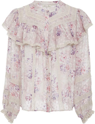 LoveShackFancy Erica Floral-Print Silk Top