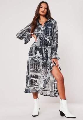 Missguided Navy Printed Asymmetric Frill Hem Midi Dress