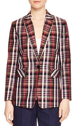 Sandro Salima Single-Button Plaid Blazer