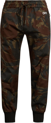 OFF-WHITE Camouflage-print ribbed-cuff trousers $565 thestylecure.com