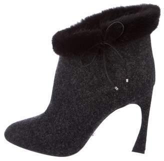 Christian Dior Felt Fur-Trimmed Ankle Boots