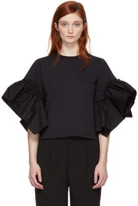 See by Chloe Black Ruffle Sleeve T-Shirt