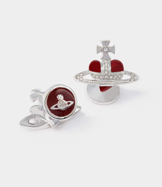 Vivienne Westwood Diamante Red Heart Cufflinks