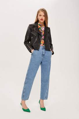 Topshop Black Leather Biker Jacket