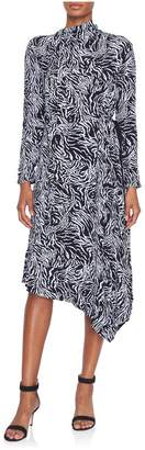Proenza Schouler Longsleeve Draped Zebra Scarf Dress