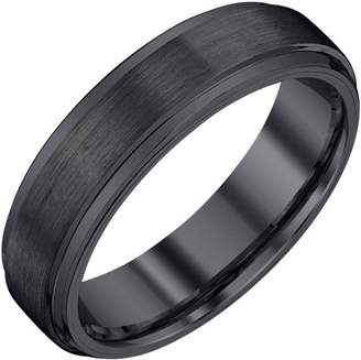 Armani Exchange Jewelry Men's Black Tungsten Band with Satin and High Polish, 6mm