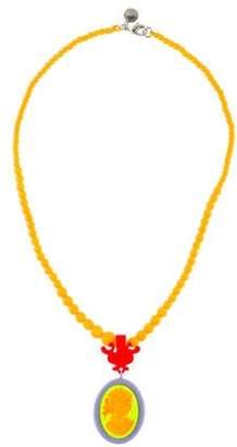 Tom Binns Beaded Cameo Pendant Necklace