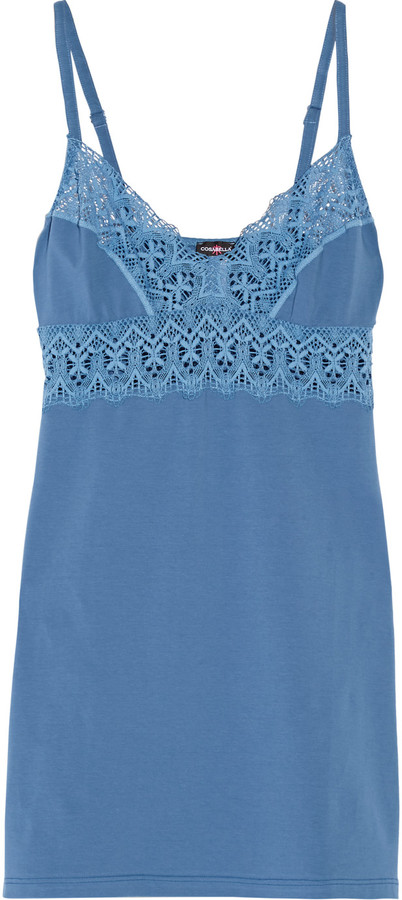 CosabellaCosabella Edith lace-trimmed cotton-blend chemise