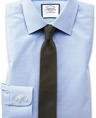 Charles Tyrwhitt Extra slim fit small gingham sky blue shirt