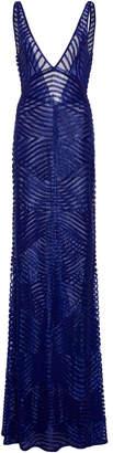 Naeem Khan Open-Back Beaded Tulle Gown
