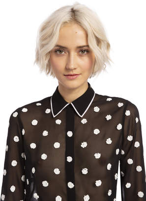 Alice + Olivia VINA SEQUIN BUTTON DOWN