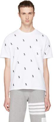 Thom Browne White Penguin Pique Crewneck T-Shirt