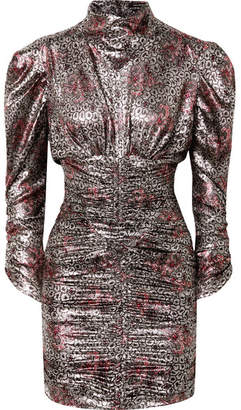 Isabel Marant Pandor Ruched Printed Silk-blend Lamé Mini Dress - Silver