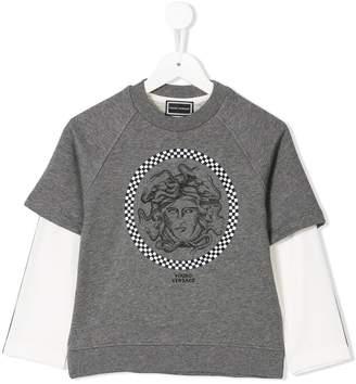 Versace Medusa checkered logo top