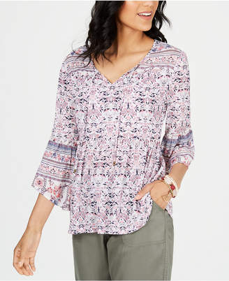 Style&Co. Style & Co Mesh Lantern-Sleeve Peasant Top