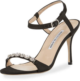 Manolo Blahnik Priscaba Jeweled Satin Sandal, Black