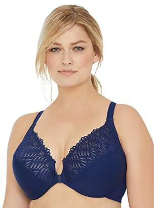 Glamorise Women's Full Figure Front Close Lace T-Back Wonderwire Bra