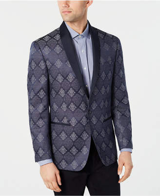 Ryan Seacrest Distinction Men Modern-Fit Royal Blue Floral Dinner Jacket