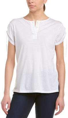 Helmut Lang Cinched Sleeve Cashmere-Blend Henley Shirt
