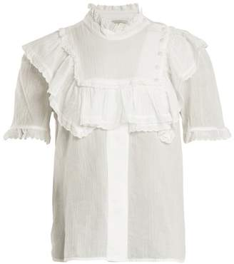 Lee Mathews - Carly Ruffle Trimmed Cotton Top - Womens - White