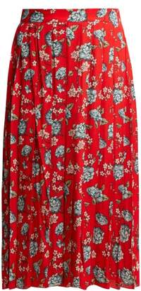Vetements Pleated Floral Print Crepe Midi Skirt - Womens - Red Multi