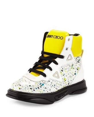 Jimmy Choo Galaxy Paint-Splatter Leather High-Top Sneaker, White $1,095 thestylecure.com