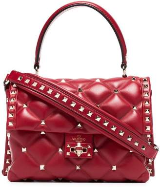 Valentino Red Candystud Leather Top Handle Bag