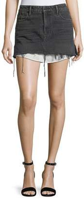 Alexander Wang Mid-Rise Cutoff Denim Skirt w/ Shirttail Hem