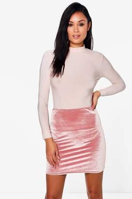boohoo Huda Roll Neck Slinky Body Velvet Skirt Co-Ord $30 thestylecure.com