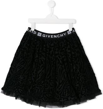 Givenchy Kids TEEN velvet-flocked mini skirt