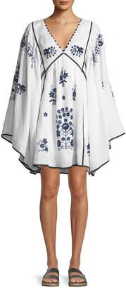 Vita Kin V-Neck Bell-Sleeve Embroidered Linen Mini Dress