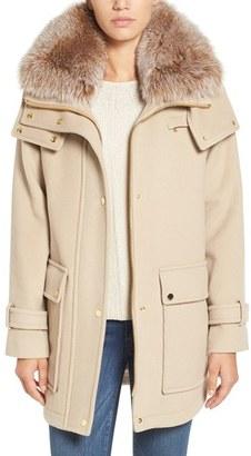 Women's Trina Turk 'Peyton' Genuine Fox Fur Trim Wool Blend Duffle Coat $650 thestylecure.com