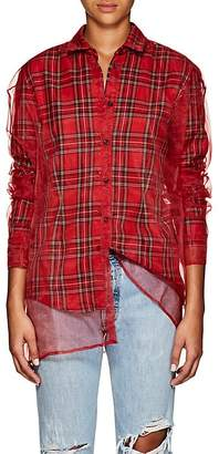 Y/Project Women's Tulle-Layered Plaid Flannel Blouse