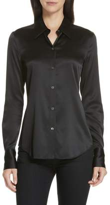 Theory Perfect Fit Stretch Silk Blouse