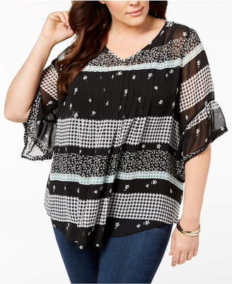 Style&Co. Style & Co Plus Size Mixed-Print Sheer Pintuck Blouse, Created for Macy's