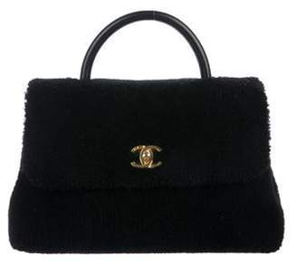 Chanel 2017 Shearling Medium Coco Handle Bag Black 2017 Shearling Medium Coco Handle Bag